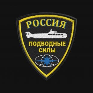 Фирменная черная футболка с вышитым шевроном Подводные силы России