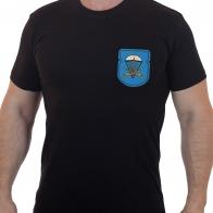 Фирменная черная футболка с вышитым знаком ВДВ 91 отдельный десантно-штурмовой батальон