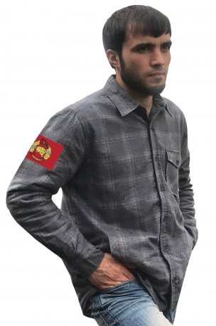 Фирменная клетчатая рубашка с вышитым шевроном Спецназ ВВ РФ