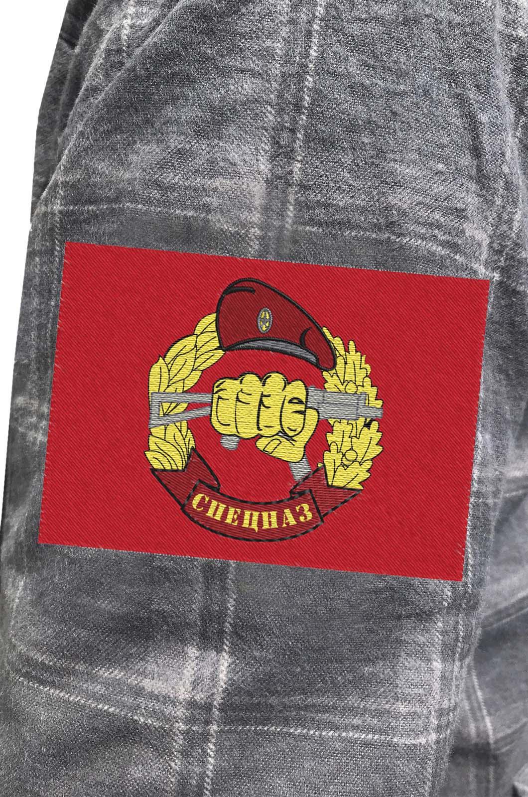 Фирменная клетчатая рубашка с вышитым шевроном Спецназ ВВ РФ - купить по низкой цене