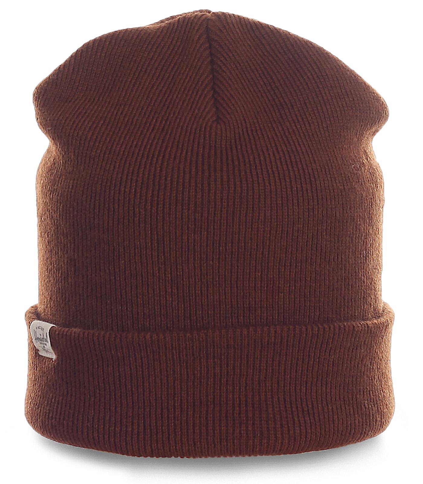 Фирменная мужская шапка Herschel кофейного цвета. Практичная модель на все случаи жизни