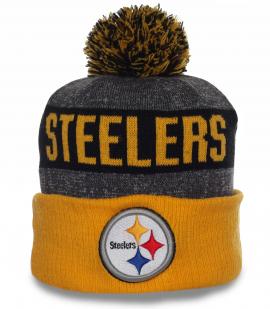 Фирменная мужская шапка Steelers на флисе. Спортивная модель, в которой удобно и тепло в любую погоду