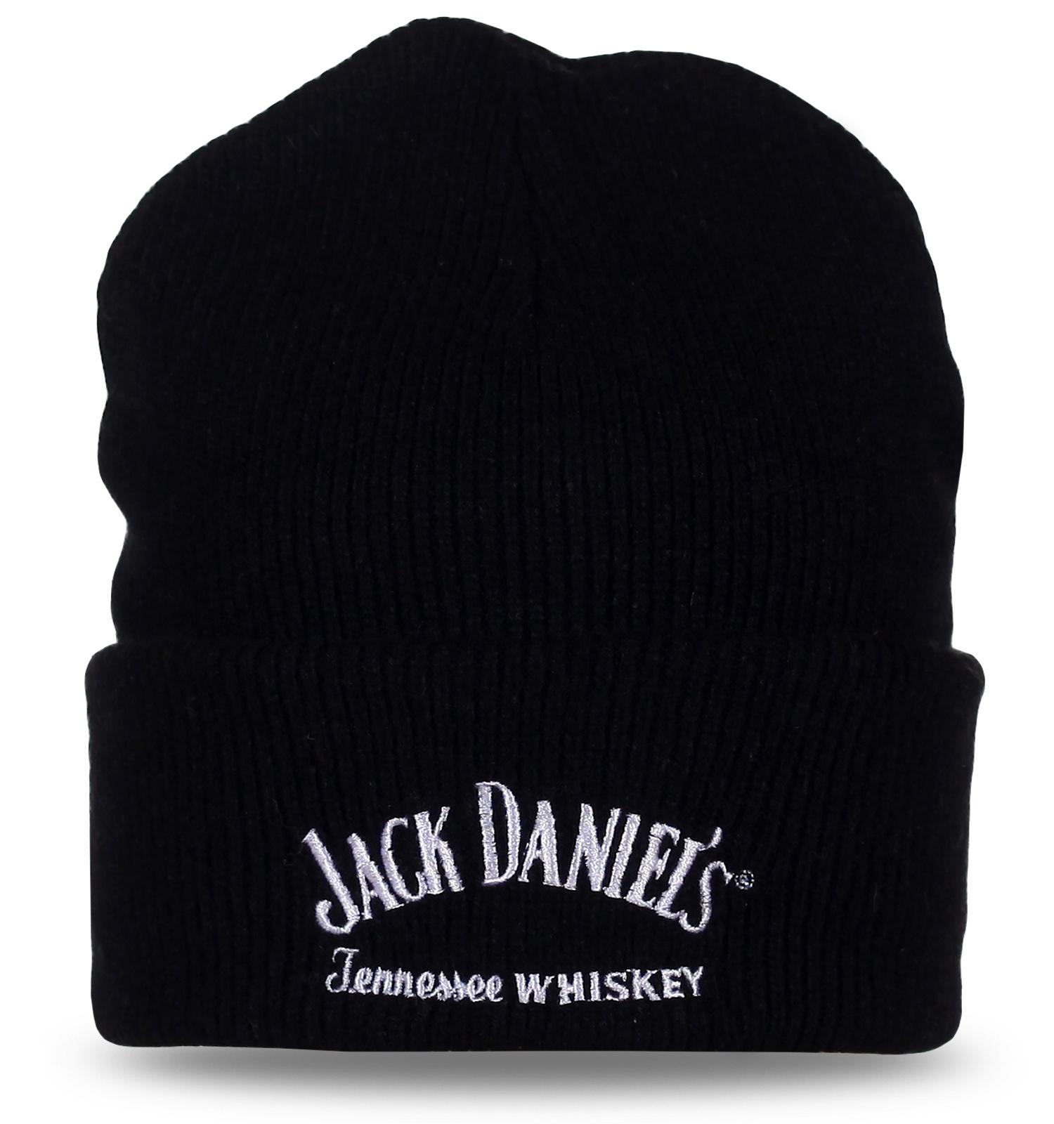 Фирменная шапка Jack Daniel's черного цвета. Универсальная модель с подворотом