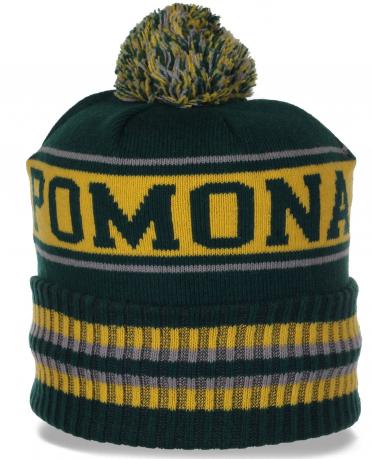 Фирменная шапка Pomona на флисе для спортивных мужчин. Яркая расцветка, теплый материал - то, что нужно в холодное время года