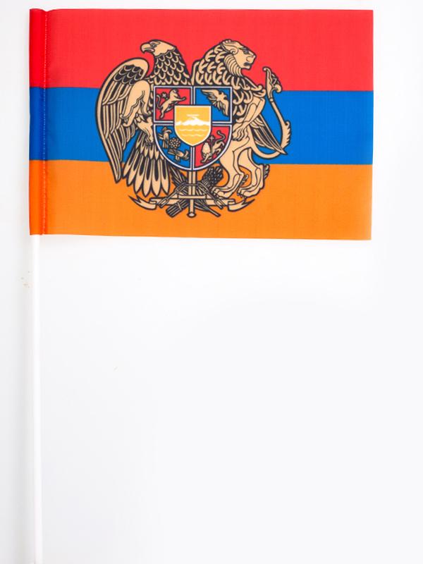 Флаг Армении с гербом на палочке