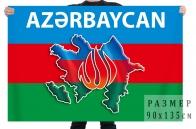 Флаг Азербайджан с контуром границ