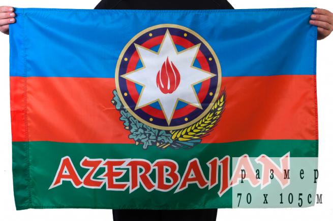 Флаг Азербайджанской Республики с гербом