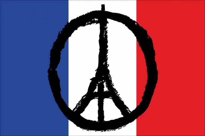 Флаг Франции с эмблемой скорби