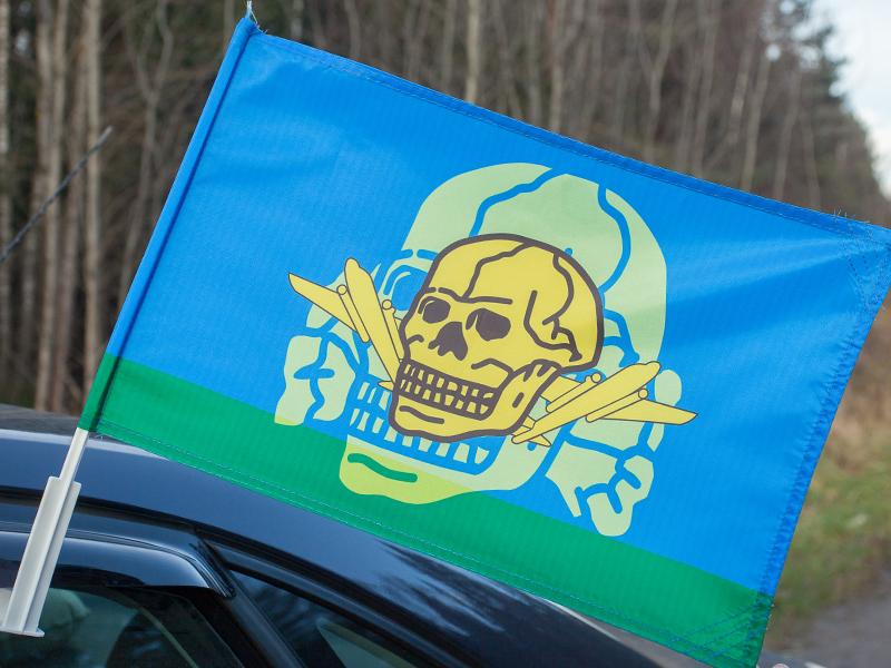 Флаг на машину с кронштейном ВДВ «Адамова голова»