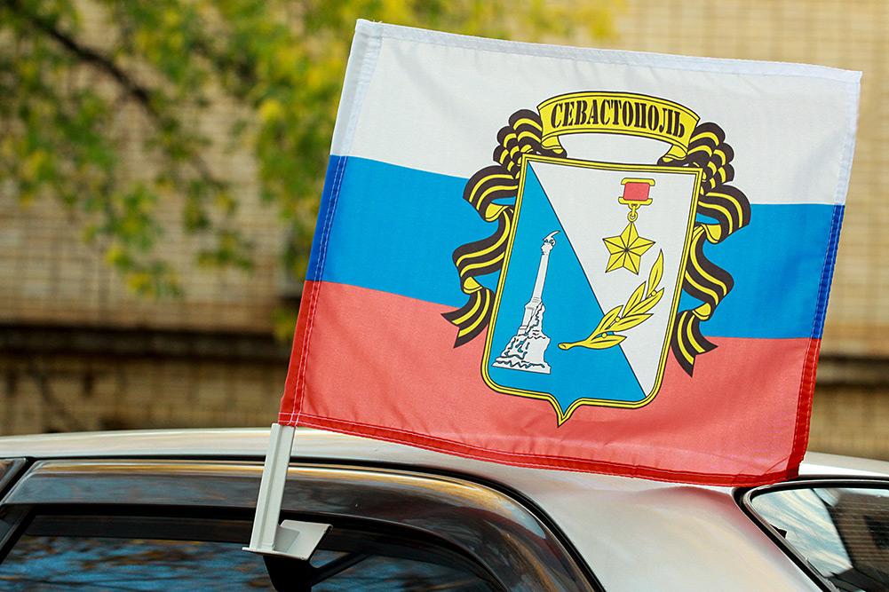 "Флаг на машину ""Триколор с гербом Севастополя"""