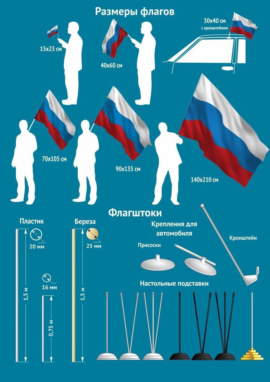"""Флаг с кронштейном """"Военно-морской флот России"""" в любом формате"""