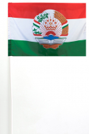 Флаг Таджикистана с гербом на палочке