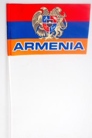 Флажок на палочке «Флаг Армении с гербом»