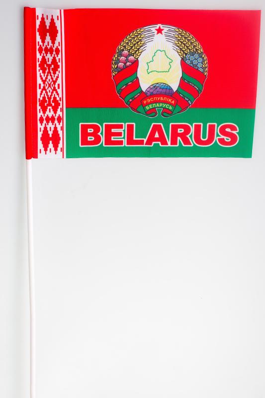 Флажок Белоруссии с гербом на палочке