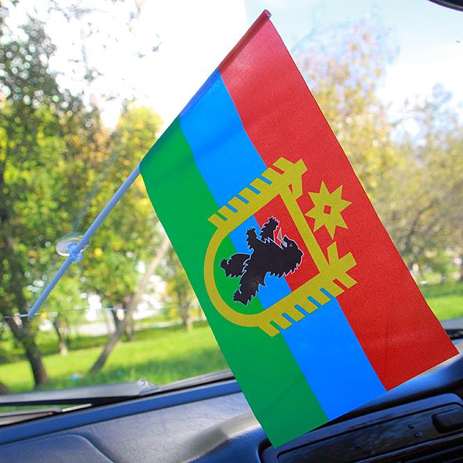 Флажок Карелии с гербом в машину