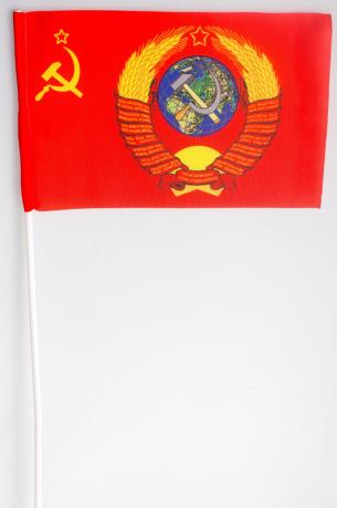 Флажок на палочке «Флаг СССР с гербом»