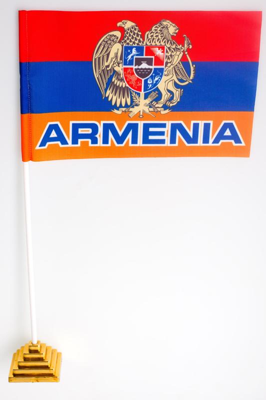 Флажок настольный «Флаг Армении с гербом»