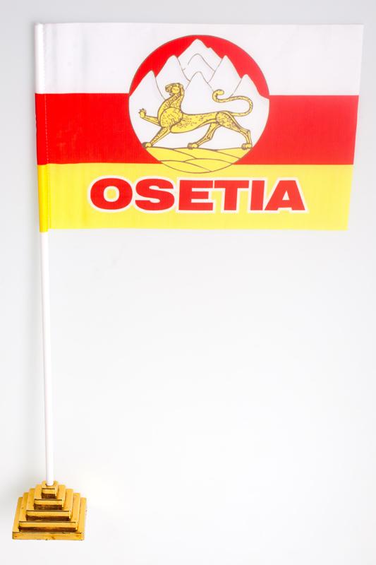 Флажок настольный «Флаг Республики Северная Осетия с гербом»