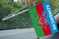 Флажок с присоской Азербайджан с контуром границ
