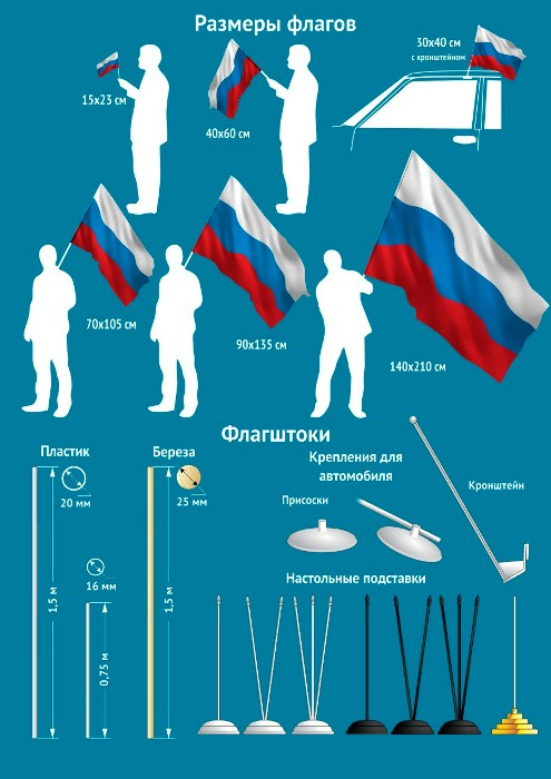 Флагштоки и девки для флагов: пластик и дерево