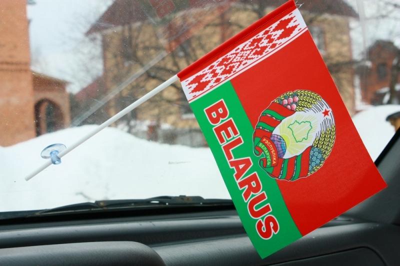 Флажок в машину с присоской Беларусь с надписью