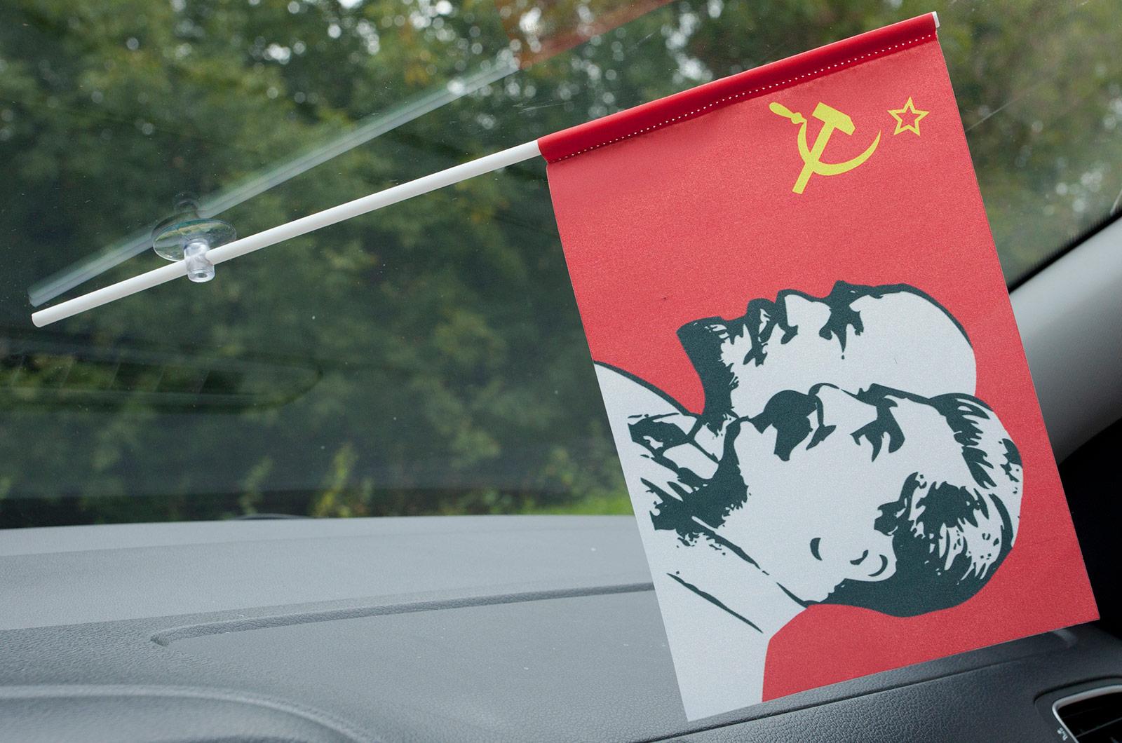 Флажок в машину с присоской Ленин и Сталин