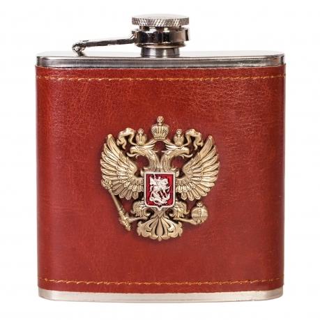 Патриотическая фляжка для спиртных напитков с гербом России.