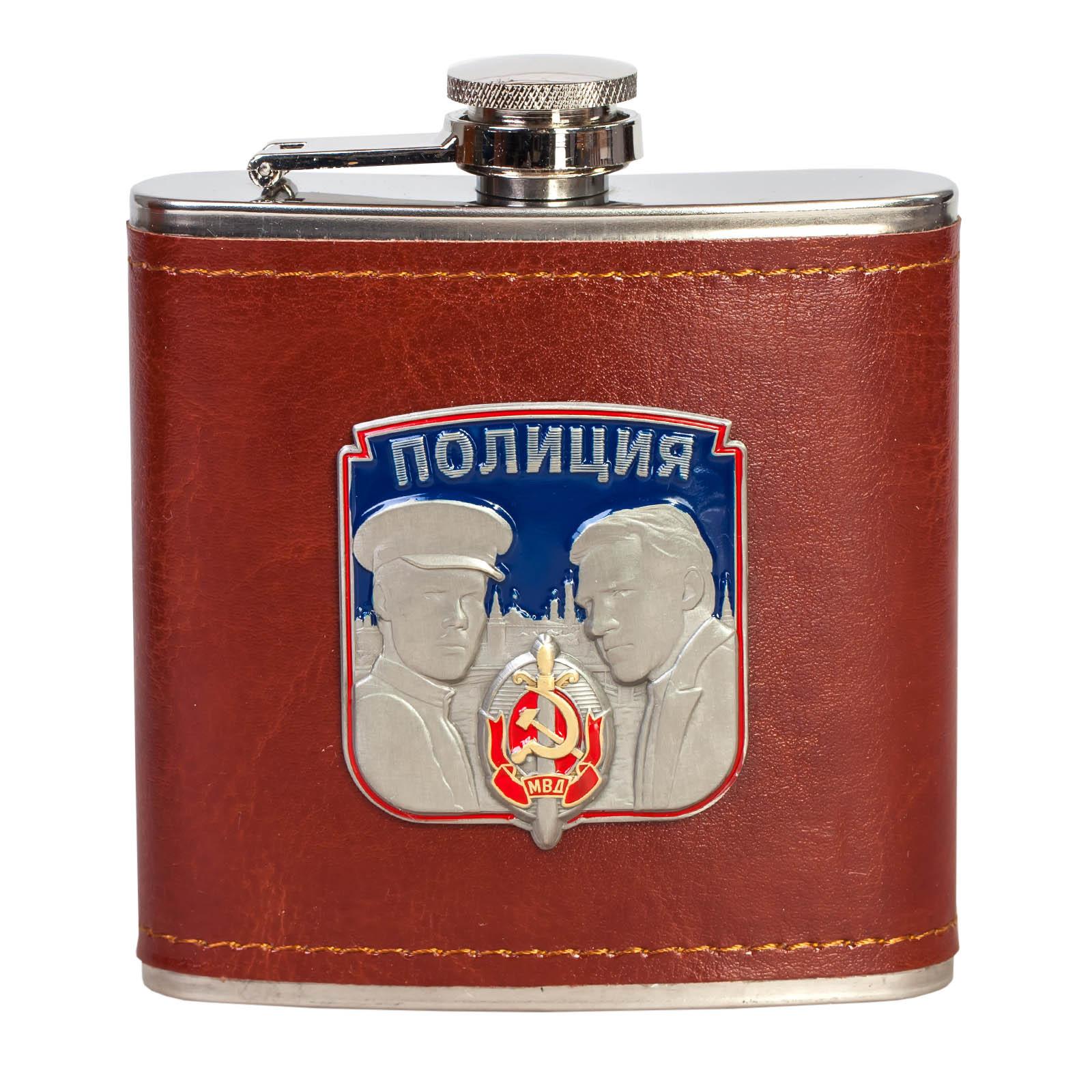 Фляга для спиртных напитков с фигурной накладкой ПОЛИЦИЯ.