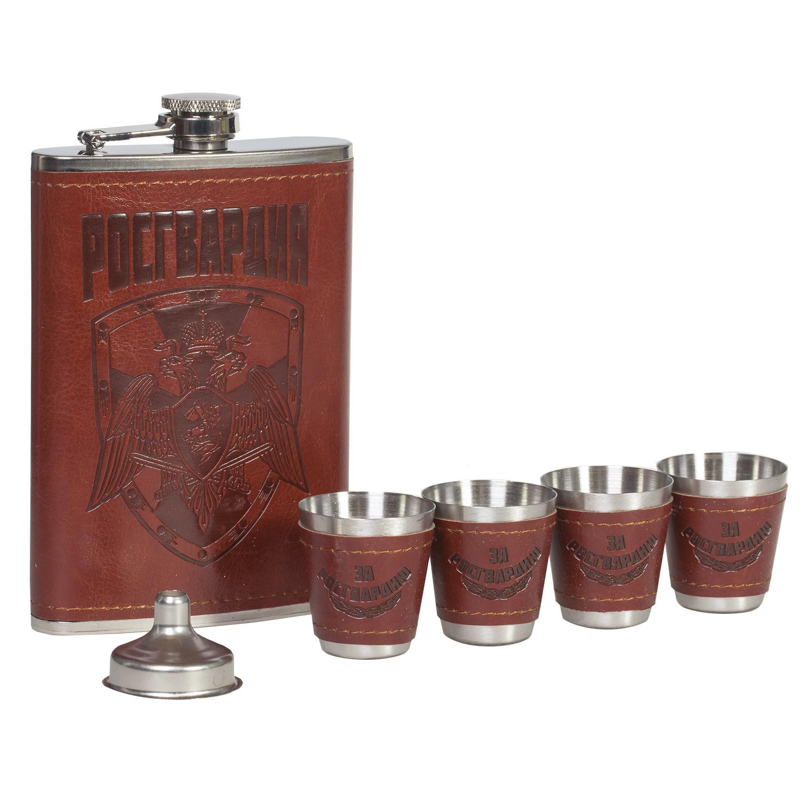 Подарочный набор для спиртного «Росгвардия» - фляга, воронки, стопки