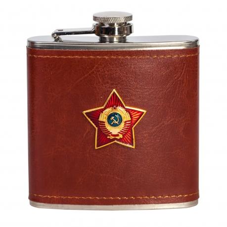 Нержавеющая плоская фляга с гербом Советского Союза.