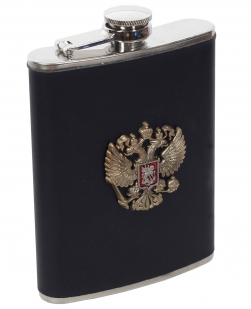 Фляжка для алкоголя с металлическим гербом России по выгодной цене