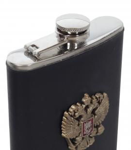 Фляжка для алкоголя с металлическим гербом России от Военпро