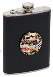 Заказать фляжку для алкоголя с жетоном Морпех (обтянутая кожей, металлический жетон)