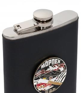 Фляжка для алкоголя с жетоном Морпех (обтянутая кожей, металлический жетон) с доставкой
