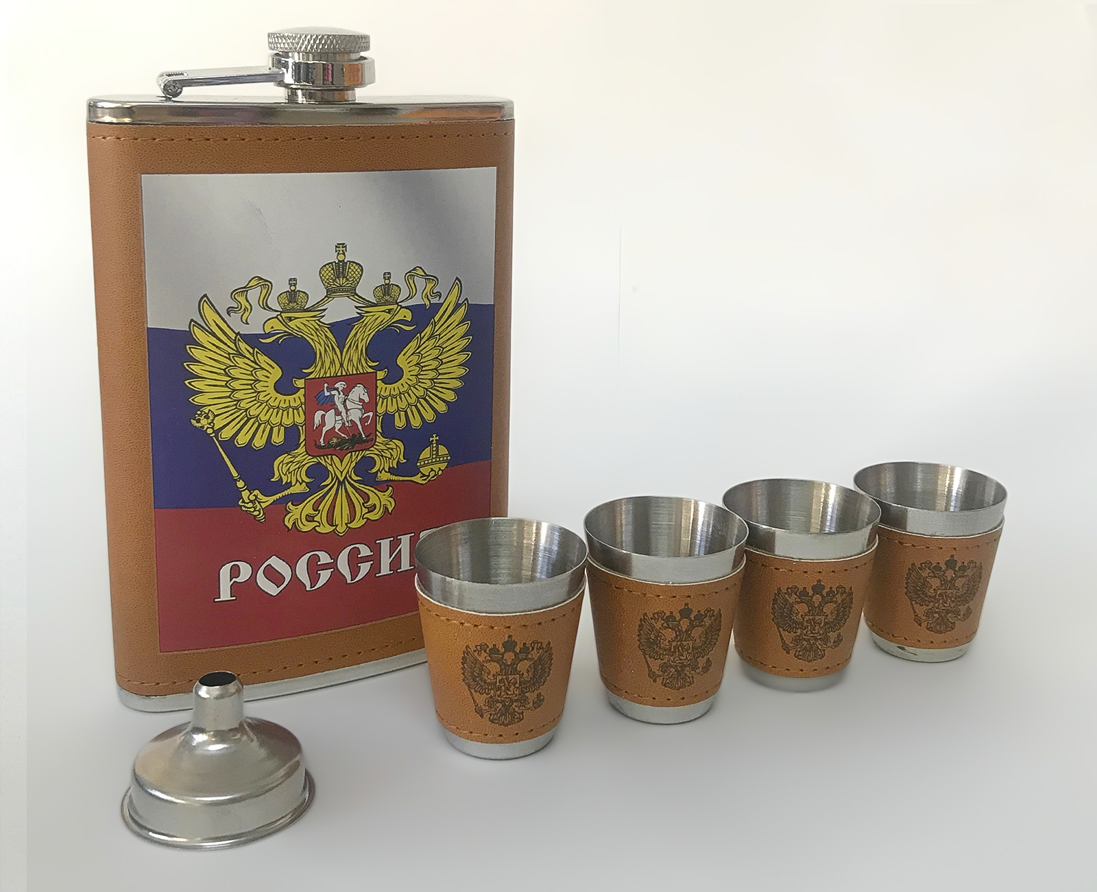 """Фляжка для спиртного """"Россия"""" со стопками"""