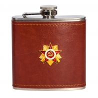 Подарочная фляжка в коже с барельефным орденом ВОВ I степени.