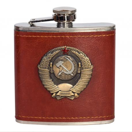 Легенда! Подарочная фляжка с рельефным гербом Советского Союза.
