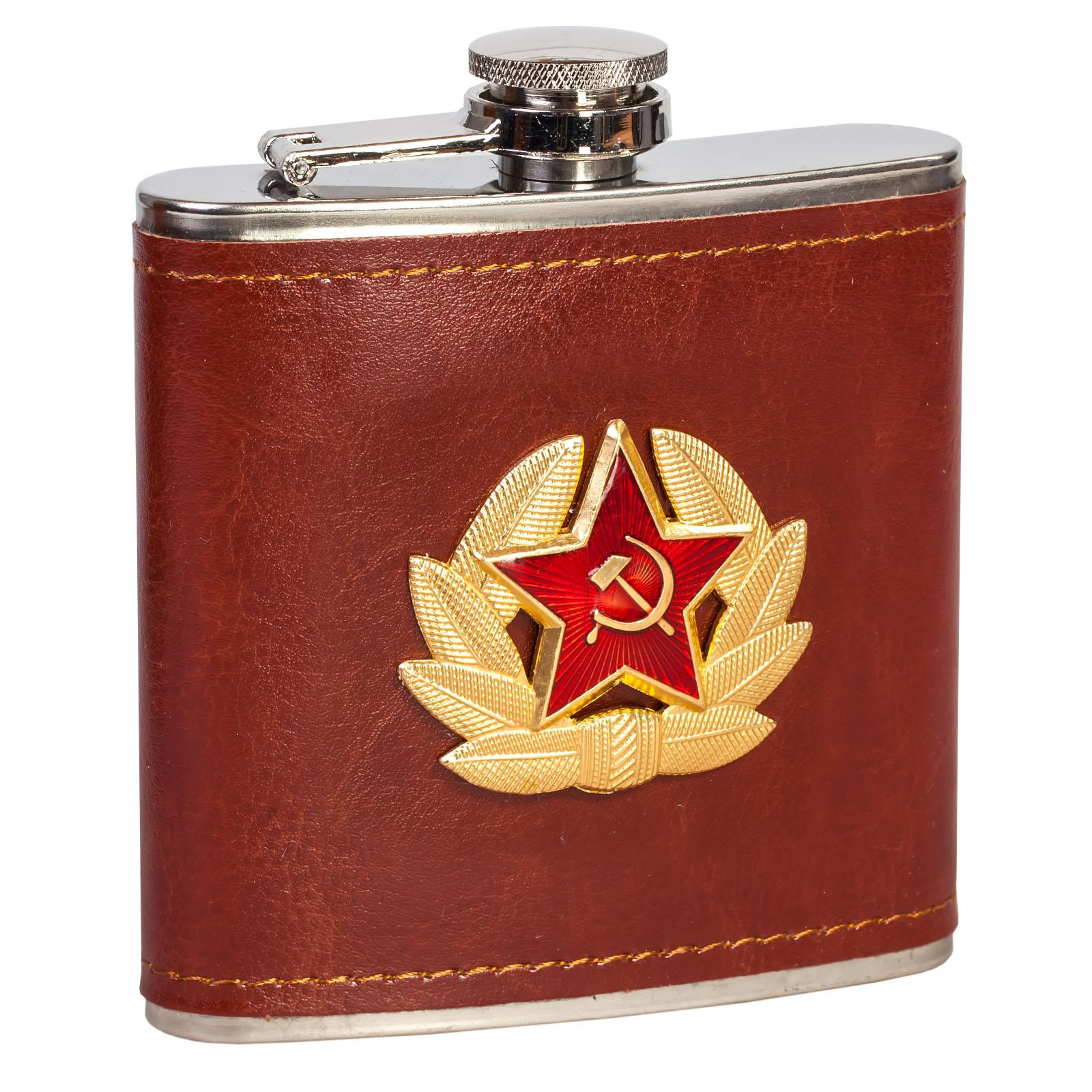 Недорогая сувенирная фляжка «Советская Армия» в кожаном чехле