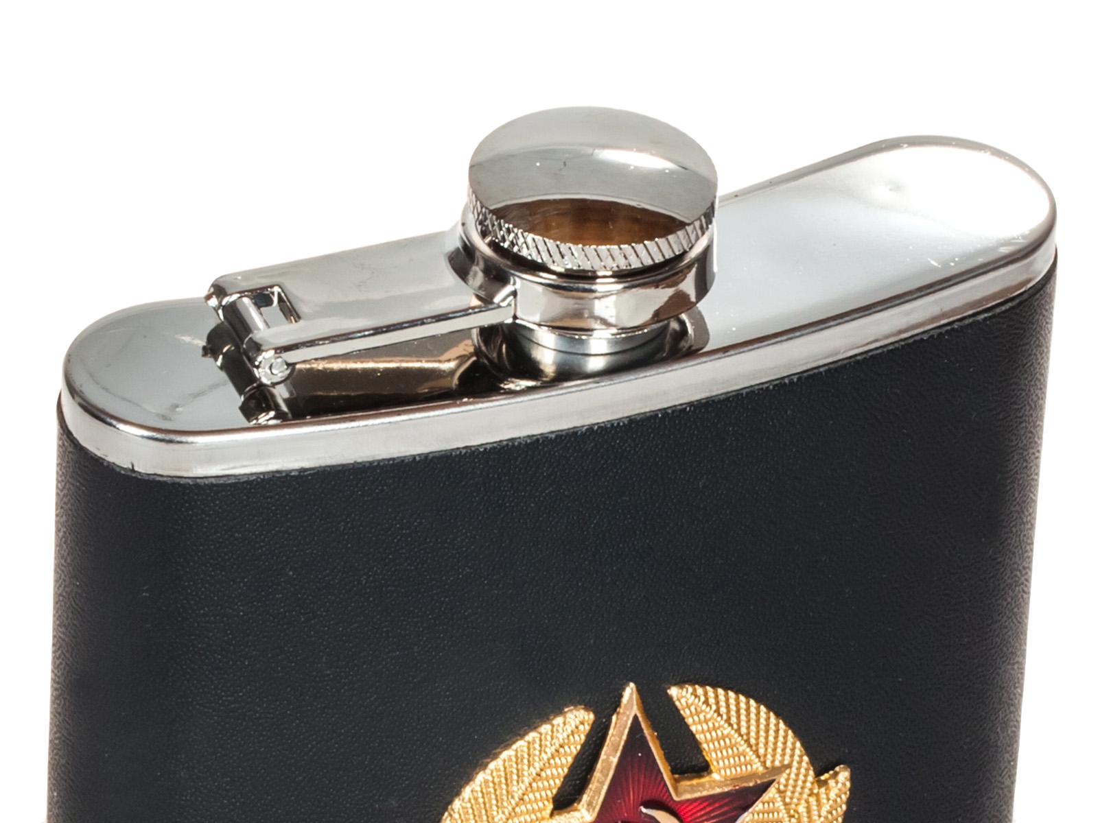 """Фляжка """"Советская Армия"""" - обтянутая кожей черного цвета, металлическая накладка"""