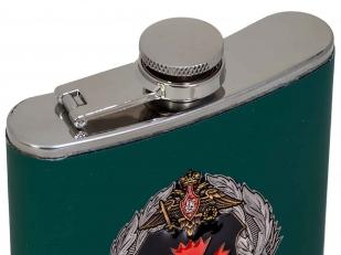 Фляжка в коже с металлической эмблемой ГУ ГШ ВС РФ с доставкой