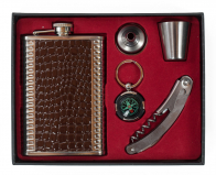 Фляжка в подарок мужчине (фляжка, стопка, воронка, брелок, штопор)