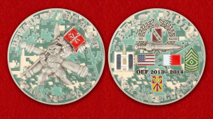 For Excellence by Bravo 3-43 ADA BN for OEF Challenge Coin - obverse and reverse