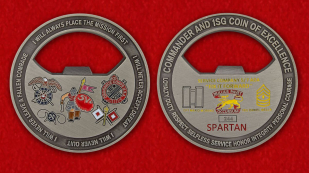For Excellence Commander and 1SG by Service Company 5/7 ADA Fixit Forfard Challenge Сoin-Opener - obverse and reverse
