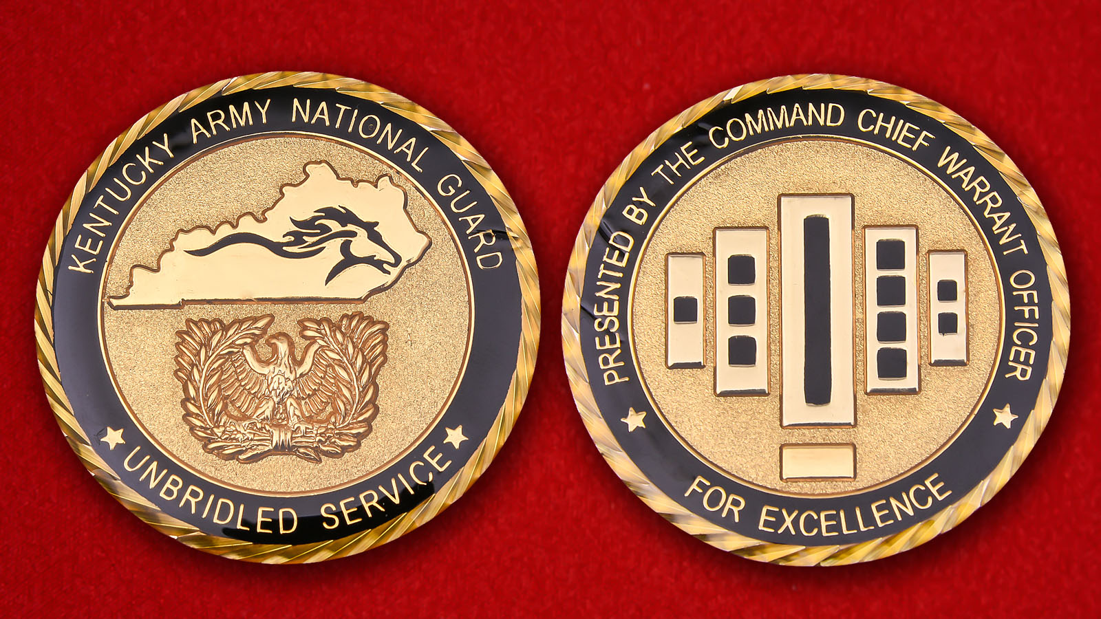 For Excellence presented the command chief warrant officer Kentucki Army National Guard Challenge Coin - obverse and reverse
