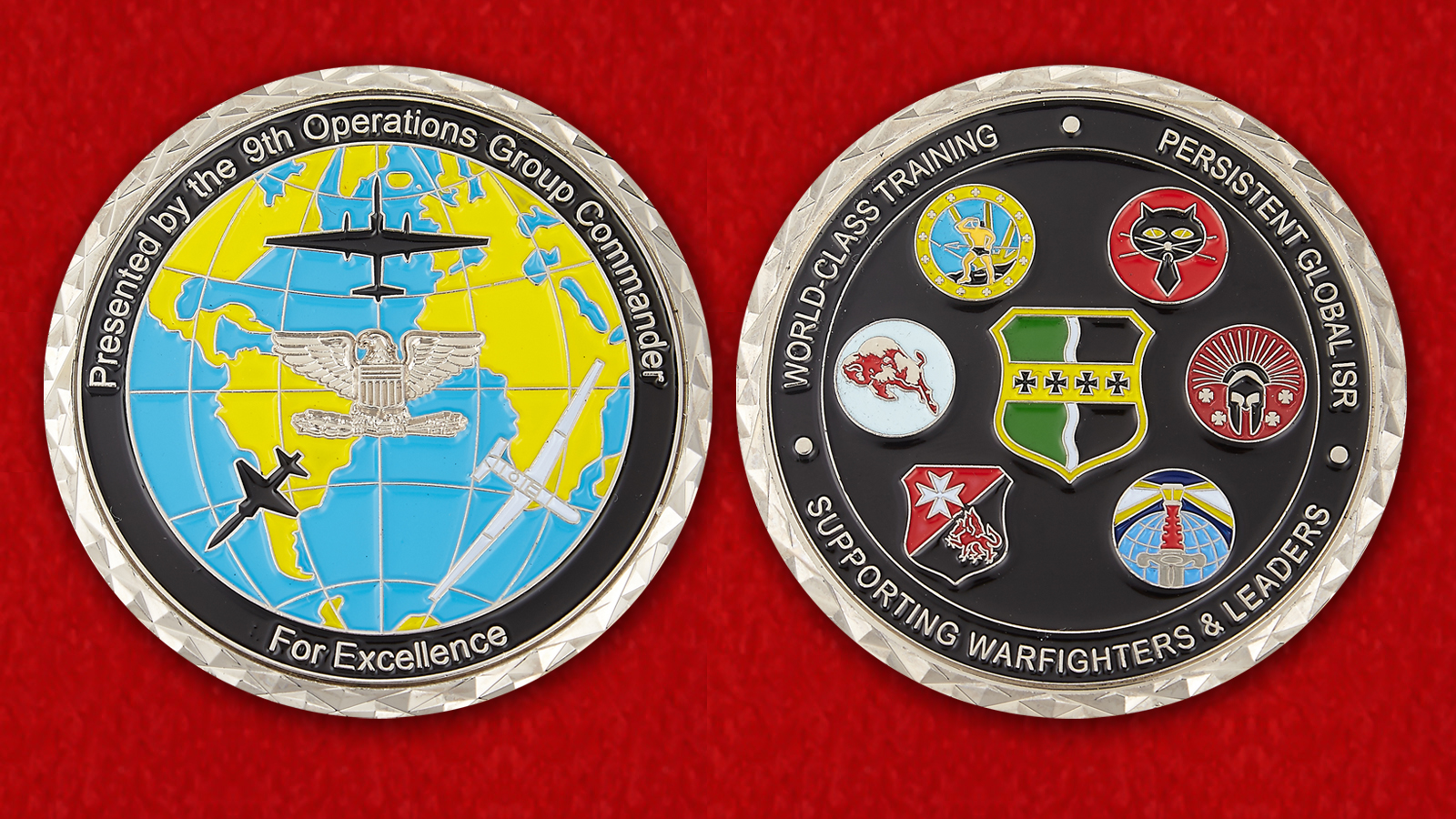 For Exellence Presented by the 9th Operations Group Commander Challenge Coin - obverse and reverse