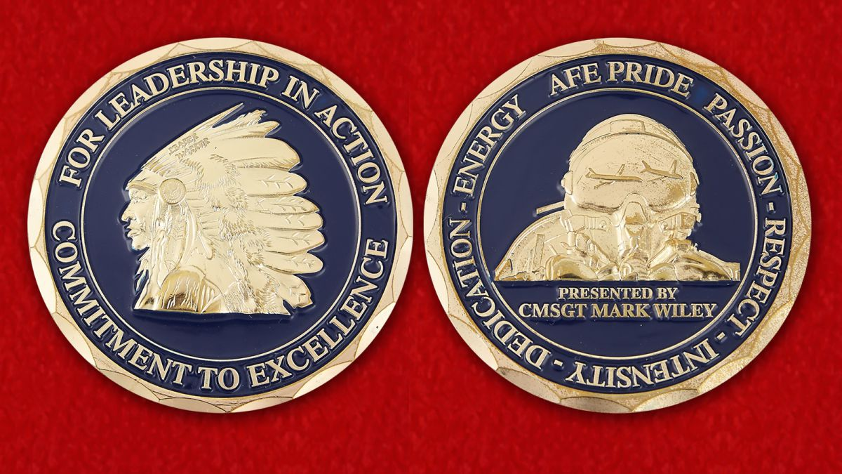 For Leadership in Action Covvitment for Excellence Presented by CMSGT Mark Wiley Challenge Coin - obverse and reverse