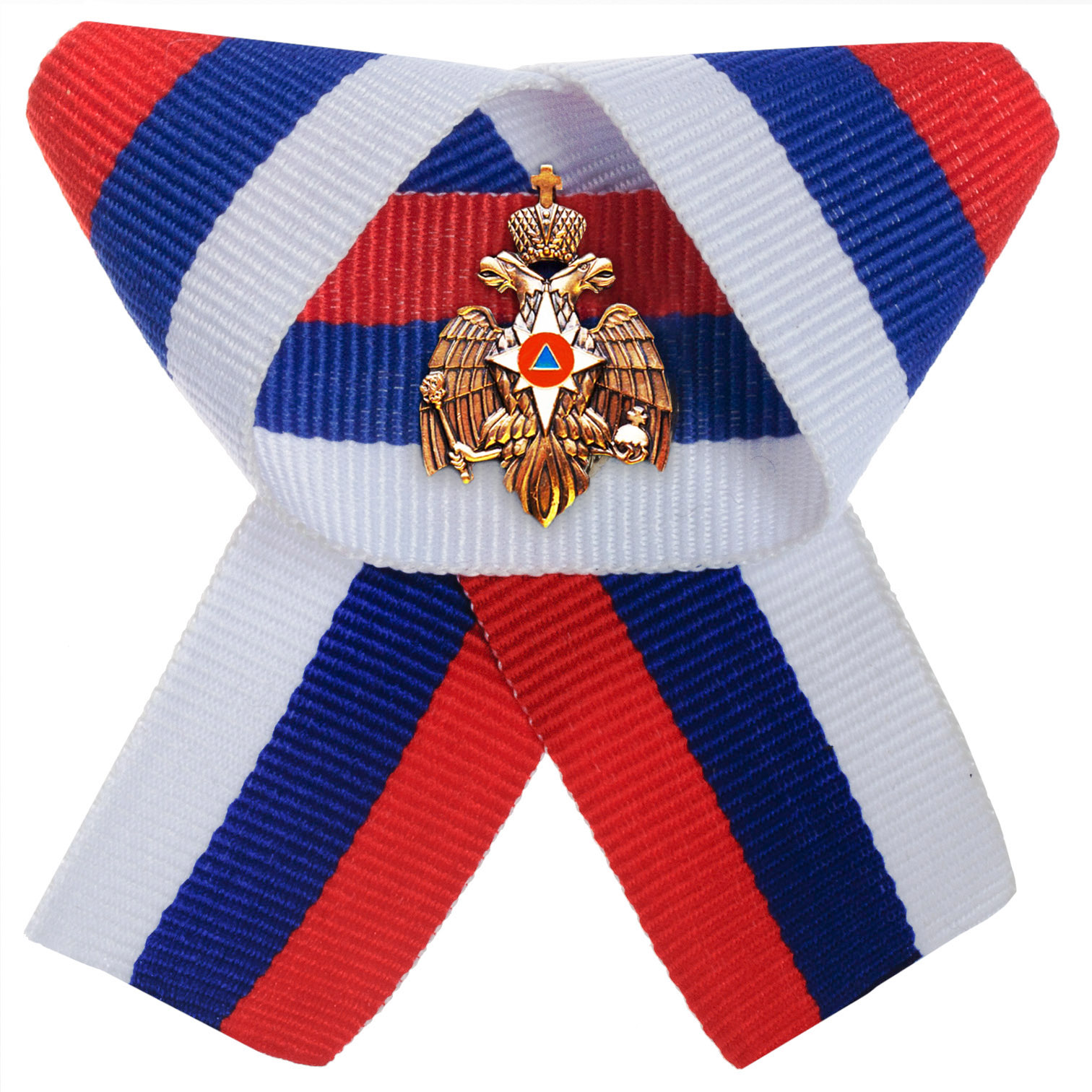 Эмблема МЧС на ленточке российского триколора
