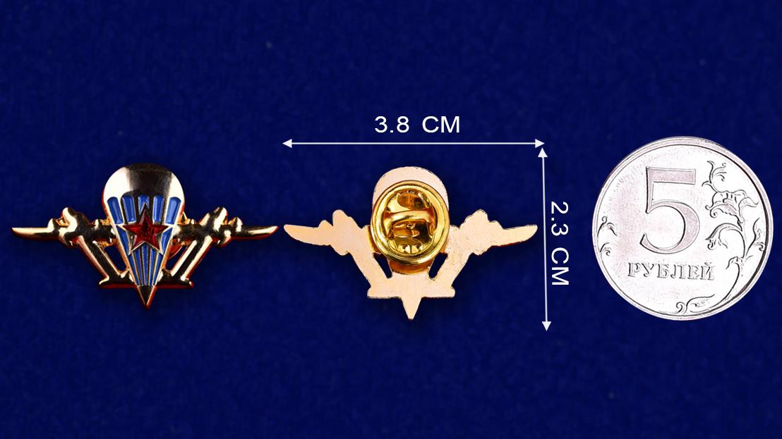 Эмблема ВДВ из металла  - сравнительный размер
