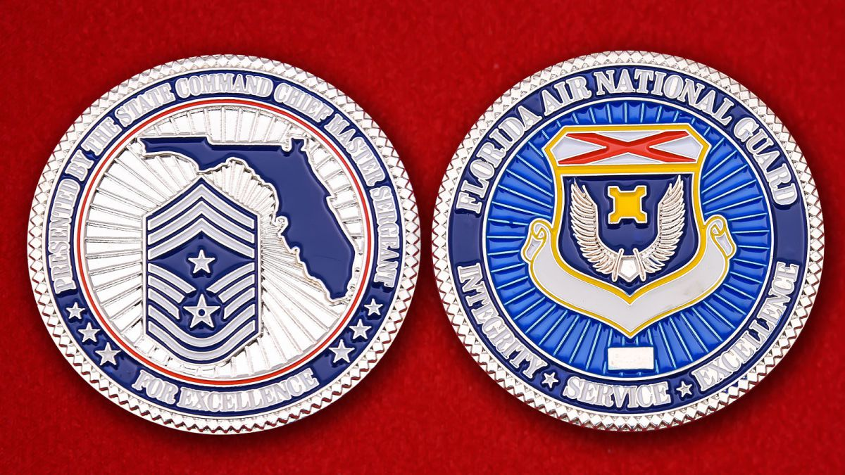 From Master Sergeant Florida Air National Guard Challenge Coin - obverse and reverse