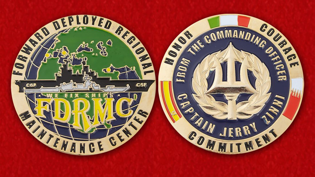 From the Commanding Officer Captain Jerry Zinni FDRMC Challenge Coin - obverse and reverse